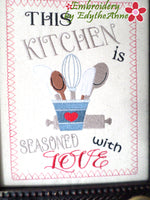 KITCHEN SEASONED WITH LOVE CANVAS ART Frameable Canvas-  In The Hoop Machine Embroidery
