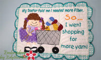NEED MORE YARN (for you knitters!)  IN THE HOOP MUG MATS TWO SIZES INCLUDED