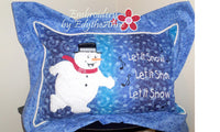 Blue SNOWMAN  PILLOW PROJECT MITERED FLANGE  - Embroidery by EdytheAnne - 2