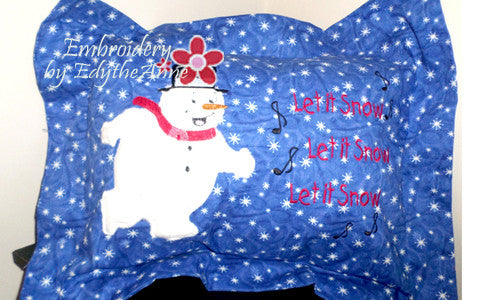 SNOWMAN APPLIQUE PILLOW in the hoop SELF FLANGE Beginner-Intermediate - Embroidery by EdytheAnne - 1