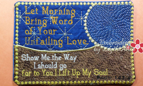 LET MORNING BRING WORD  In The Hoop Machine Embroidered Mug Mat - Embroidery by EdytheAnne - 1