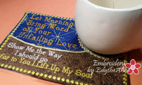 LET MORNING BRING WORD  In The Hoop Machine Embroidered Mug Mat - Embroidery by EdytheAnne - 2