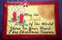 LIGHT OF THE WORLD MUG MAT/MUG RUG In The Hoop Embroidery Design - Embroidery by EdytheAnne - 1