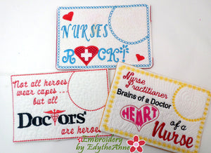MEDICAL SET In The Hoop Machine Embroidered Mug Mat/Mug Rug.
