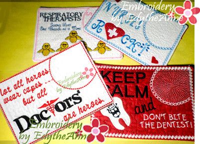 MEDICAL CAREER 4 pack Mug Mats In The Hoop Embroidered Mug Mat/Mug Rug.  Instant Download - Embroidery by EdytheAnne - 1