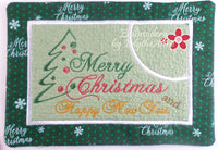MERRY CHRISTMAS & HAPPY NEW YEAR MUG MAT/MUG RUG In The Hoop Embroidery Design