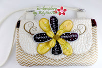 MISS DAISY Scalloped Flap Bag with Dimensional Flowers. Digital Design