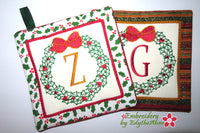 CHRISTMAS MONOGRAM POT HOLDERS SET of 26 In The Hoop Machine Embroidery
