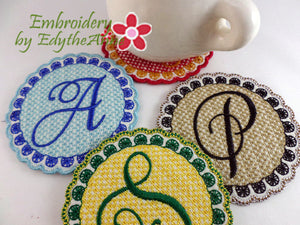 SAMANTHA MONOGRAM COASTERS- Set of 26  In The Hoop Machine Embroidery Design. Digital Files