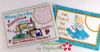 SAVE 25% DURING NATIONAL EMBROIDERY MONTH - SET OF Two Whimsical In The Hoop Embroidered Mug Mat Designs.   - Digital File - Instant Download