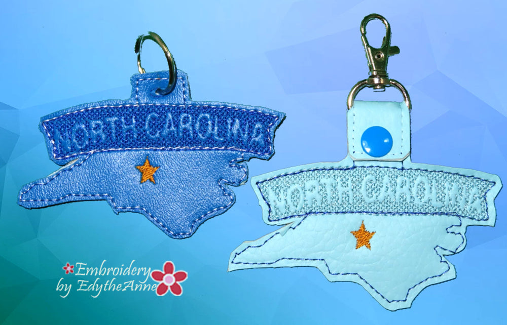 NORTH CAROLINA STATE KEY FOB Easy to stitch.  - In The Hoop Machine Embroidery