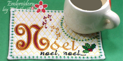 VERSION 2 - NOEL MUG MAT V2 Christmas Mug Mat in 2 Sizes - .INSTANT DOWNLOAD - Embroidery by EdytheAnne - 1