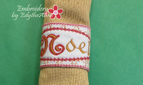 Noel napkin rings in the hoop instant download