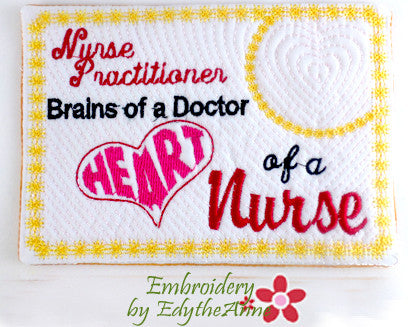 NURSE PRACTITIONER In The Hoop Machine Embroidered Mug Mat/Mug Rug.