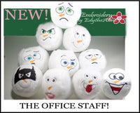 THE OFFICE STAFF SNOWBALLS...Machine Embroidered Ten  different faces shaped into snowballs. INSTANT DOWNLOAD