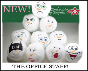 THE OFFICE In The Hoop Machine Embroidery faces shaped into snowballs.