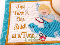 ONE STITCH AT A TIME In The Hoop Embroidered Mug Mat Designs.   - Digital File