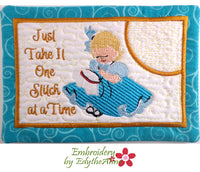 SAVE ON SET OF TWO Whimsical Hand & Machine Embroidery Designs In The Hoop Mug Mat Designs.  - Digital Download