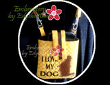 I LOVE MY DOG - CROSS BODY CELL PHONE CARRIER- IN THE HOOP - Instant Download