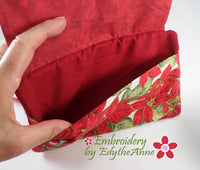 POINSETTIA PURSE IN THE HOOP with Dimensional Poinsettia. Digital Download