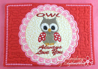 VALENTINE REVERSE APPLIQUE Set 1  Mug Mats/Mug Rugs - 2 Sizes Available- DIGITAL DOWNLOAD
