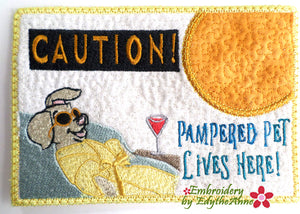 PAMPERED PET LIVES HERE MUG MAT/MUG RUG In The Hoop Embroidery Design