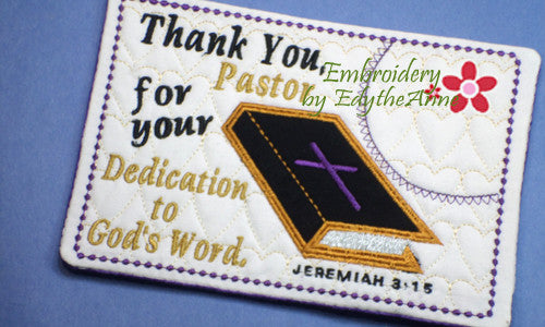 PASTOR APPRECIATION -This is an ITH Embroidered Mug Mat/Mug Rug.  - Digital File - Instant Download - Embroidery by EdytheAnne - 1