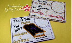 PASTOR APPRECIATION Mug Mat 2 pack Set.  - INSTANT DOWNLOAD - Embroidery by EdytheAnne - 1