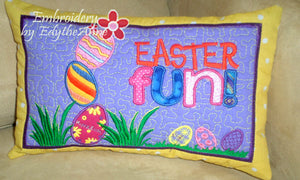 EASTER FUN  Machine Embroidery In The Hoop Pillow.  Digital Download