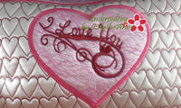 I LOVE YOU VALENTINE HEART PILLOW In The Hoop Pillow.  Instant Download - Embroidery by EdytheAnne - 3