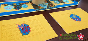 BUTTERFLIES & FLOWERS PLACEMATS  In The Hoop Machine Embroidery Design