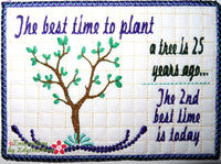 PLANT A TREE  In The Hoop Mug Mat - Digital Download