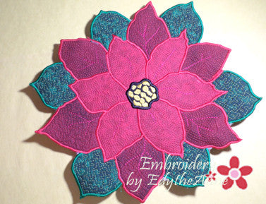 POINSETTIA CENTERPIECE or TRIVET  In The Hoop Project -INSTANT DOWNLOAD - Embroidery by EdytheAnne - 1