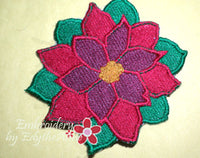 POINSETTIA COASTER- IN THE HOOP MACHINE EMBROIDERY - Embroidery by EdytheAnne - 2