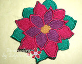 POINSETTIA COASTER 1/2 off WITH PURCHASE of Matching Placemat - Embroidery by EdytheAnne - 2
