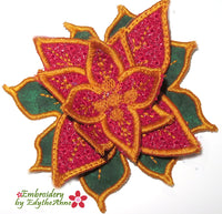 FREE STANDING POINSETTIA  In The Hoop Machine Embroidery
