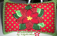 POINSETTIA ACCENT PILLOW - In The Hoop Machine Embroidery