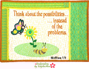 THINK OF THE POSSIBILITIES  In The Hoop Mug Mat - Digital Download