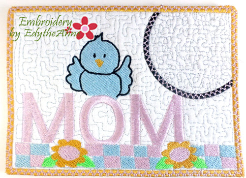 A BLUEBIRD FOR MOM.... In The Hoop Embroidered Mug Mat/Mug Rug Design - DIGITAL DOWNLOAD