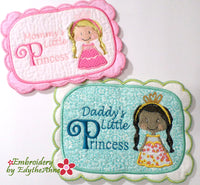MOMMY & DADDY'S LITTLE PRINCESS... In The Hoop Embroidered Mug Mats/Mug Rugs.  Digital Download