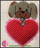 PUPPY LOVE APPLIQUE/TRAPUNTO Machine Embroidery Design - Digital Download