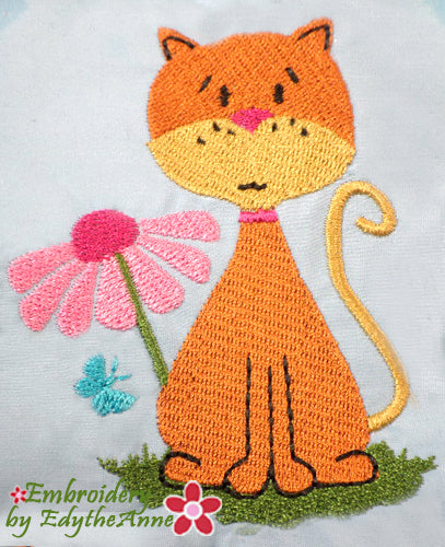 SWEET KITTY Machine Embroidery Design - Digital Download