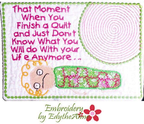 WHIMSEY In The Hoop Embroidered Mug Mat/Mug Rug with the QUILTER in MIND. Easy to stitch  - Digital File - Instant Download
