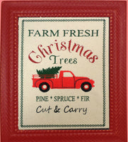 FARM FRESH CHRISTMAS TREES CANVAS ART Frameable Canvas-  In The Hoop Machine Embroidery