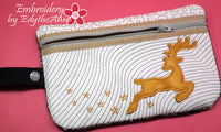 CHRISTMAS WRISTLET IN THE HOOP BAG -with Reindeer Applique  INSTANT DOWNLOAD