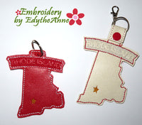 RHODE ISLAND STATE KEY FOB Easy to stitch.  - In The Hoop Machine Embroidery
