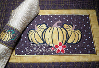 FALL/THANKSGIVING PLACEMAT  In The Hoop Machine Embroidery