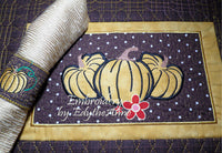 Fall or Thanksgiving Placemat In The Hoop Machine Embroidery