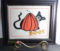 SCAREDY CAT CANVAS ART Frameable Canvas-  In The Hoop Machine Embroidery