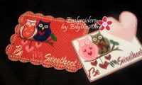 Be My SweetHoot Valentine Mug Mat/Mug Rug 2 Versions. 2 Sizes - INSTANT DOWNOAD - Embroidery by EdytheAnne - 3